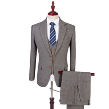 Wool Retro Grey Herringbone Tweed British Style Custom Made Mens Suit Tailor Notch Lapel Blazer Wedding Suits For Men 3 Piece(China)