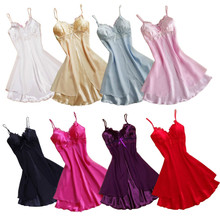 Buy Hot Sexy Women Sexy Lingerie Lace Short Mini Braces Nightdress Smooth Satin Nightgown Pajams Sleepwear Erotic Lingerie