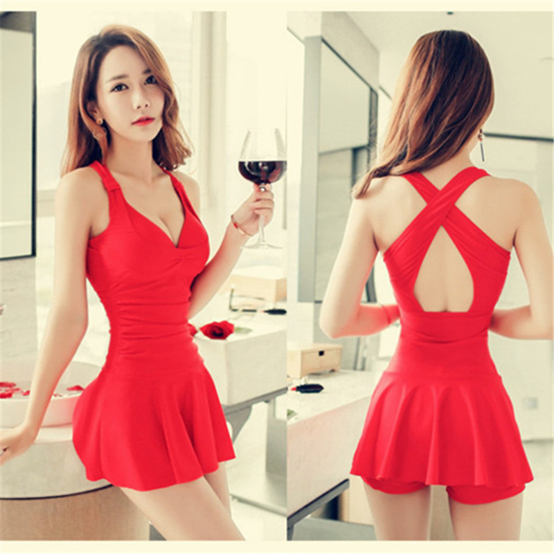 New 17 Women Swimsuit Solid Push Up Skirted Bathing Suit Padded One Piece Strappy Ruched Beach Dress Sexy Ladies Swimwear 6