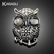 KARASU Vintage Owl  Silver-color Rhinestone Brooches for Women Girls Brooch Pins Fashion Jewelry Wholesale