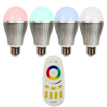 Wireless E27 9W LED RGB + White Bulb Lamp + 4-Zone RF Remote Touch Sensitive Remote Controller - Dimmable Multicolored Color Cha