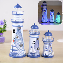 Three Size Flash Ocean Iron Crafts Iron Lighthouse Desktop Ornaments Mediterranean Gift  Figurine creative  decorative  ALI88