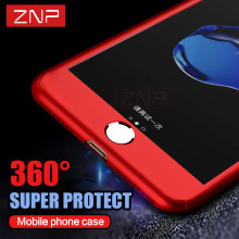 ZNP 360 Degree Full Cover Red Case For iPhone 7 6 6s 5 5S SE With Tempered Glass Case For iphone 6 7 Plus 5 Phone bag Capa Coque