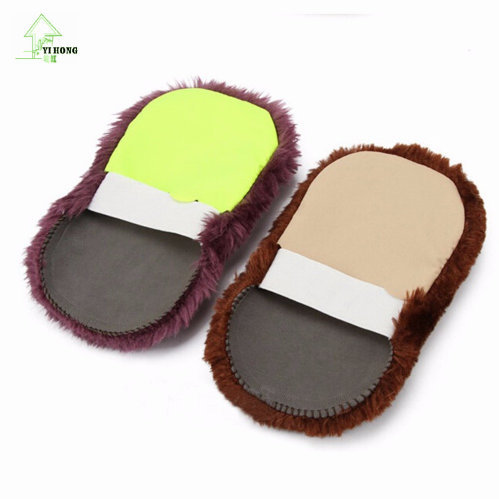 YIHONG 2017 New Soft Home Use Shoes Cleaning Gloves Cloth Polishing Shoe Brush Imitation Wool Random Colors Wholesale(China)