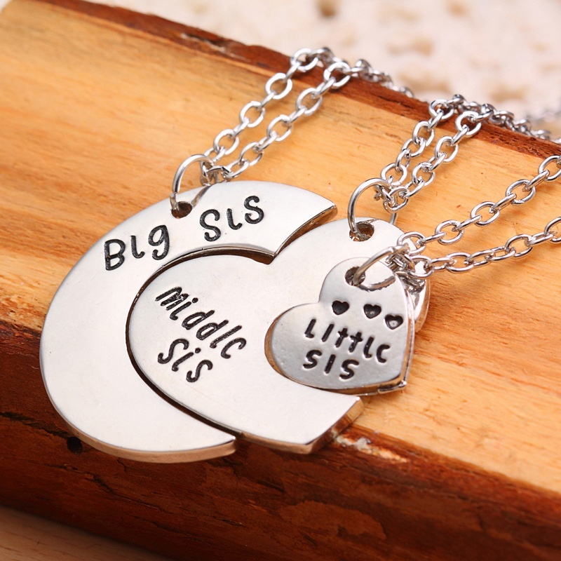 Unique Gifts Family Part - 49: 3 Pcs/set Unique Broken Heart Pendant Necklace Sister Necklace Matching Big  Middle Little Sister Love Gift For Family