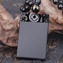 New Beautiful Natural Black Obsidian Hand Carved Dragon Safety Meaning Lucky Pendant + Free Beads Necklace Fashion Jewelry