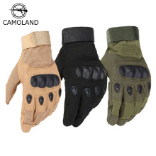 CAMOLAND Military Tactical Gloves Antiskid Outdoor Full Cover Finger Mittens Winter Thermal Men Fighting Leather Black Male