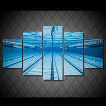5 Pieces Canvas Prints Swimming pool underwater painting Wall Art Panels Poster Pictures For Living Room