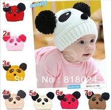 5pcs/lot Promotion 2013 NEW Panda shaped Lovely Boy girl Hats,winter baby Animal hat,Knitted caps children Keep warm hat  gifts