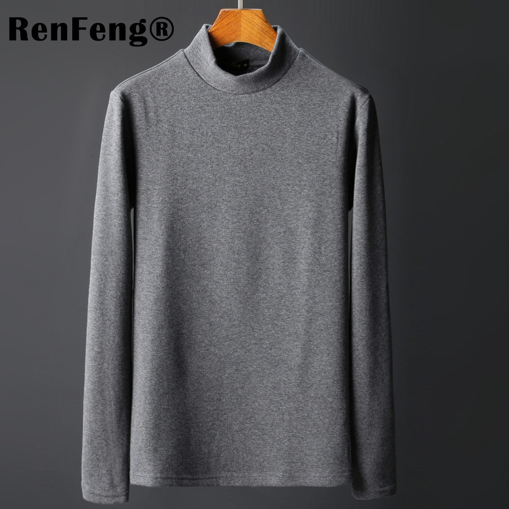 Men\`s Tops Tees 2018 summer new cotton high neck Long sleeve t shirt men fashion trends fitness tshirt Under shirt free shipping (4)