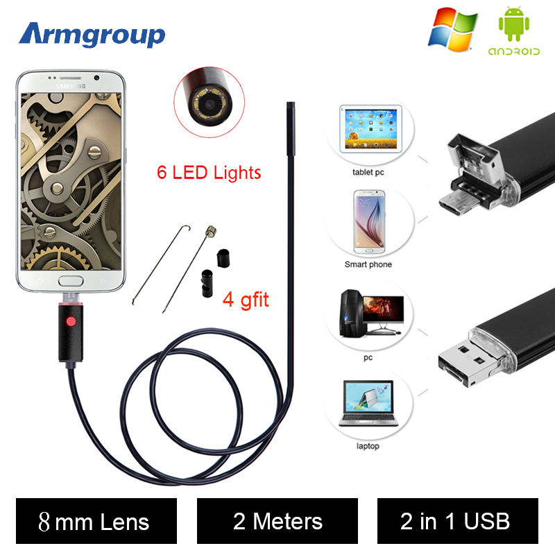 Armgroup Android Endoscope 8MM Endoscope USB Android Endoscopic Camera 720p Inspection 2M Android Borescope USB Endoskop Camera<br><br>Aliexpress