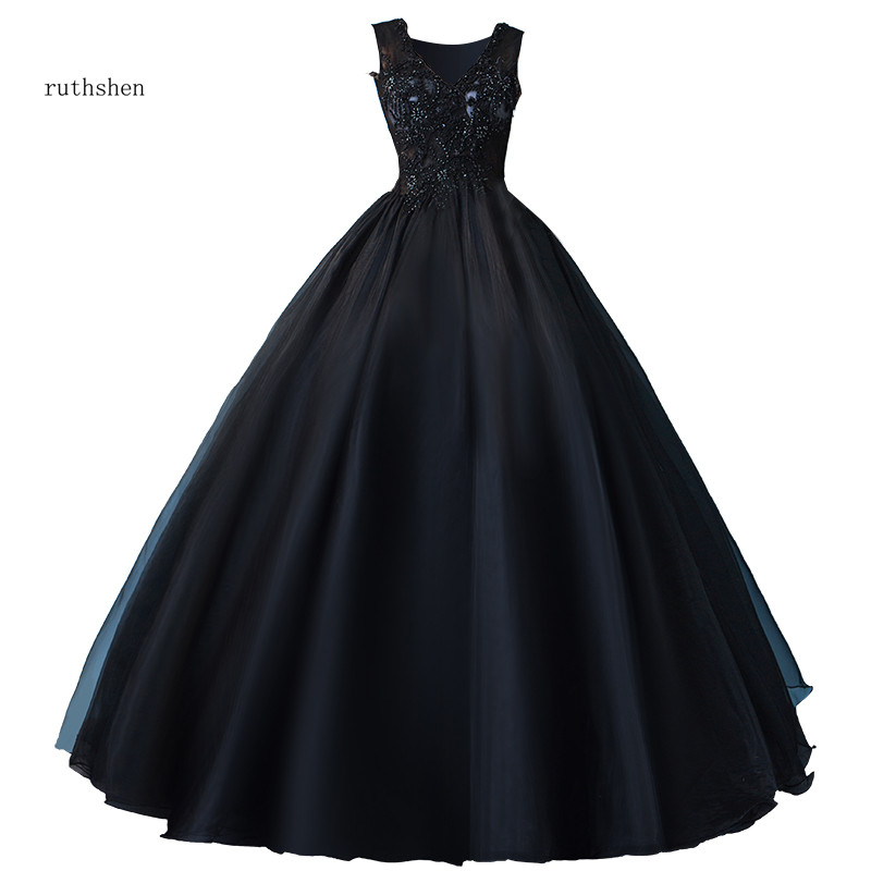 ruthshen Quinceanera Dresses Illusion V-Neck Beaded Vestidos Para Puffy Prom Dresses 2018 Ball Gown Black Colour New Arrival