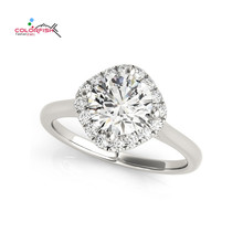 COLORFISH 1 Carat Hand Forged Cushion Halo Engagement Ring For Women 925 Sterling Silver Women Jewelry Wedding Ring Female Gifts(China)