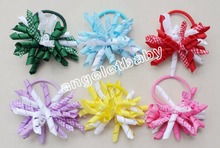 "50pcs Child girl Xmas 3.5"" gingham korker curlers ribbon hair bows flowers clips corker hair ties hair bobbles Hairbands PD025(China)"