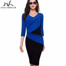 Nice-forever Vintage Elegant ColorBlock Patchwork V-Neck Bodycon Women Office Wear to Work Plus Size Business Dress B384(China)