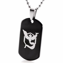 2017 New Pokemon Go Black Tungsten Carbide Dog Tag Pendant Game Anime Team Valor Mystic Instinct Logo Bead Chain Necklace