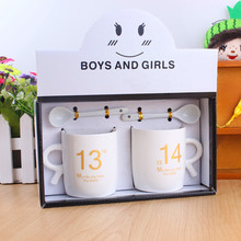 2017 new creative lovers ceramic cup set Mugs 1314 life lovers cup spoon Men,women,Mugs free shipping
