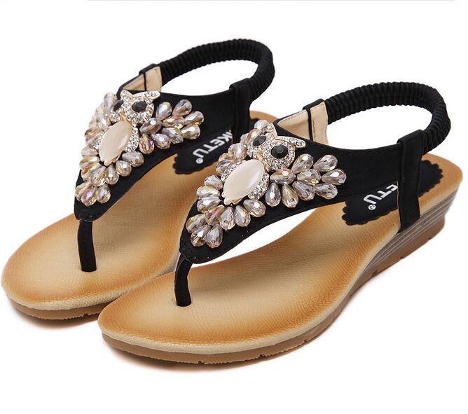 Size 4~9 Beading Crystal Sandals Women Shoes New Khaki Rome Summer Women Flats Shoes sandalias mujer (Check Foot Length)<br><br>Aliexpress