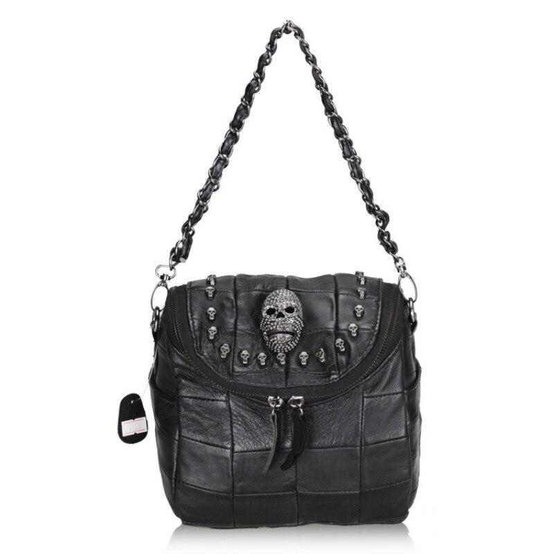 2017 Luxury Handbags Black Women Bags Designer Womens Bag Rivet Chain Messenger Shoulder Bags Female Skull Clutch Famous Brand<br>