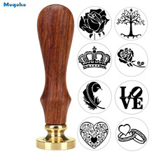 Mogoko Feather Rose Tree  Wax Seal Stamp With Wood Handle DIY Ancient Seal Retro Stamp Wedding Invitation Antique Stamp Gift