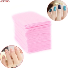 JETTING-100 Pcs Pink Nail Polish Remover Cleaner Manicure Wipes Lint Free Cotton Pads Paper Nail Art Tips