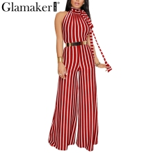 Buy Glamaker Halter stripe summer jumpsuit romper Women backless elegant sexy jumpsuit Long playsuit wide leg loose overalls 2018