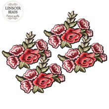LINSOIR 2pcs/lot Fashion Applique Embroidery Patches Rose Flower Embroidery Stickers For Hairband Collar Jewelry Making F5548