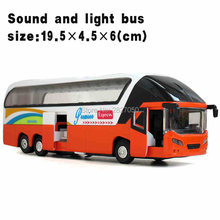 Classic Toys Alloy Car Luxury Bus Toy Pull Back Big Bus Model With Voice Light As Gift For Children Kids
