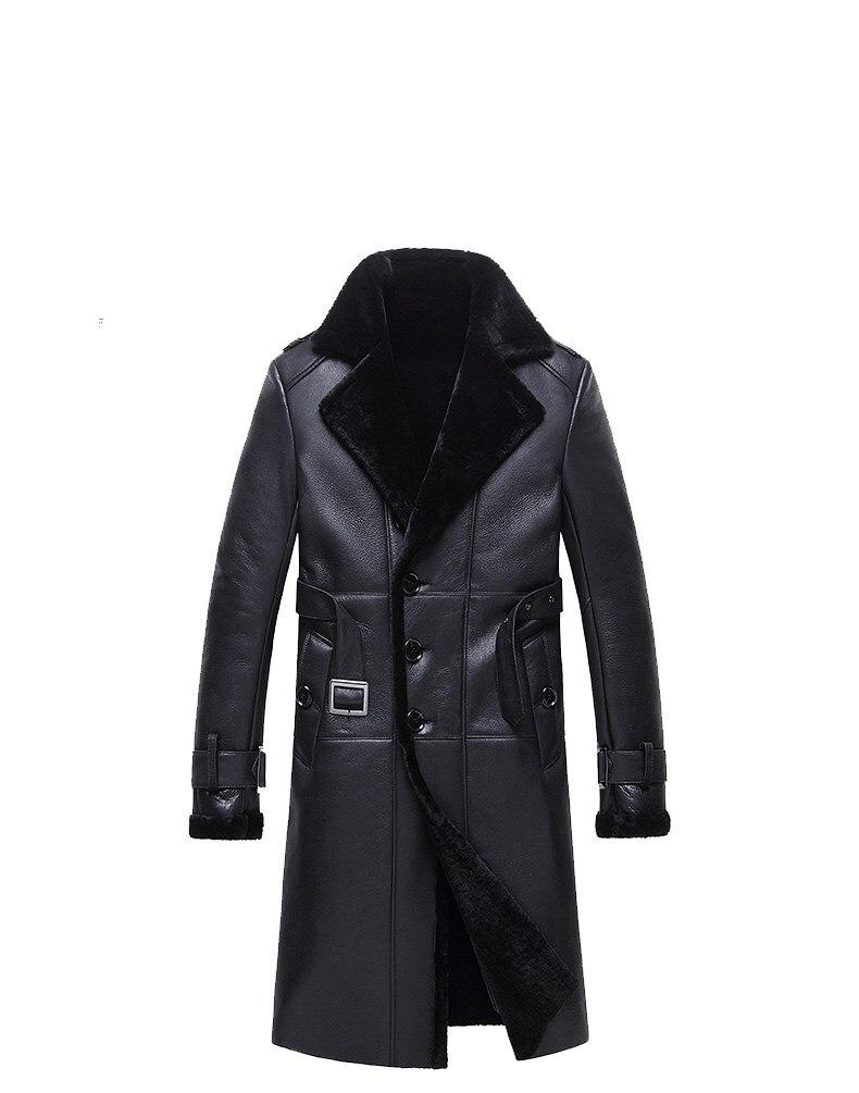Men's New Fashion Models Long Coat Single-Breasted Double Faced Fur Slim Fur Coat Qy8