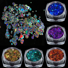 1Box Round Ultra-thin Colorful Laser Nail Art Sequins Glitter With Strip Pattern 3D DIY Nail Tips Decorations Manicure Accessory(China)
