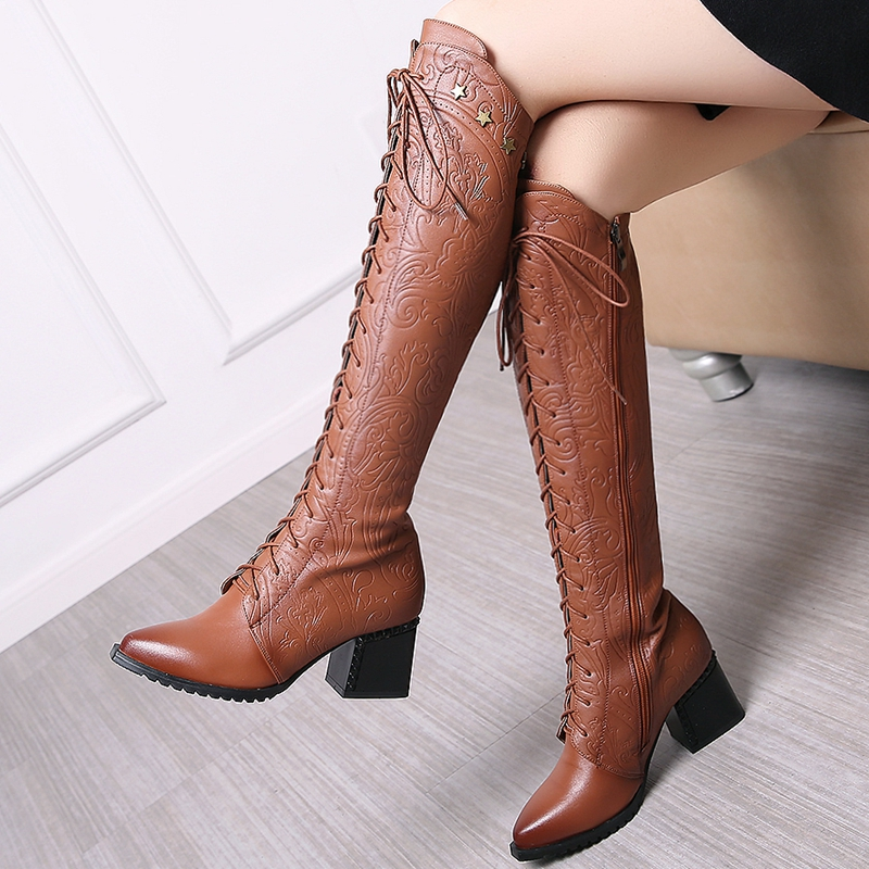 2018 Women's Over The Knee High Boots, Cow Leather, Fashion Lace Up Pointed Toe 29
