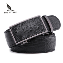 Men's Belts for Business man Strap 100%cow Real Leather automatic ratchet Good quality New Designer Buckles gifts for Male Jeans(China)
