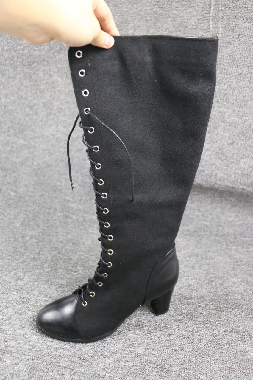 2018 Fashion Lace Up, Women's Knee High Boots, Round Toe Pu Leather, Square Heel Ladies Boots 17