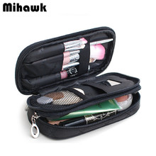 Mini Double Layer Cosmetic Bag Travel Organizer Functional Makeup Pouch Vanity Case Toiletry Brush Storage Accessories Supplies(China)
