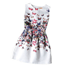 Girls formal dresses Teens designer Print flower Butterfly sleeveless dress easter holiday girl costume vestidos infantis(China)