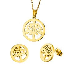 2016 Hot Sale Products Hollow Little Tree Round Necklaces And Earrings Sets, Jewelry Sets,316 Stainless Steel