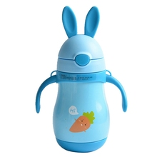Cartoon Rabbit Model Children Drinkware Travel Mug With Straw Carrot Pattern Baby Thermo Mug Lovely Cute Girl Caneca Termica(China)