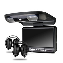 "Black 9"" HD Screen Car MPV Roof Mount Flip Down DVD Player USB Game Disc+2 Headsets"
