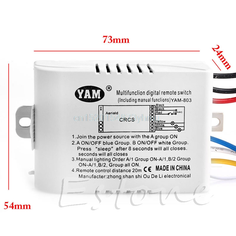 220V one Way  Wireless ON/OFF Lamp Remote Control Switch Receiver Transmitter #L057# new hot