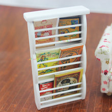 Wooden Newspaper Magazine Rack Display Stand Cabinet Dollhouse Miniature 1:12 Mini