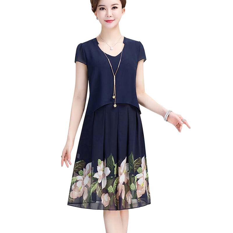 Summer Fashion Middle-aged Women Fake Two Piece Chiffon Dress Plus Size Mother Clothing Casual Print Short Sleeve Dress 2018 new