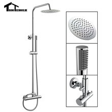 1 Set Thermostanic Shower Mixer Complete Units Chrome Bathroom Bath Twin Head Round Bathroom Shower Set Brass Chrome Wall SR2