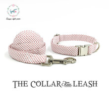 white little dot dog collar and leash set  cotton  dog &cat necklace and dog leash  for pet christmas gift wedding dog collar