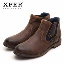 40~48 Men Boots Plus Size Top Quality Western Cow Motorcycle Retro Winter Boots Slip-On Men Shoes #XHY12502BR(China)