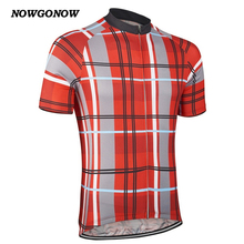 NOWGONOW custom 2017  cycling jersey red Scotland lattice lattic style Retro team clothing bike wear hot road Wholesale