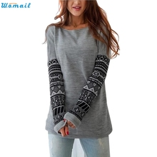 Womail Newly Design Womens Printed Long Sleeve Shirt Casual Loose Cotton Tops Lady Sweatshirt 160310 Drop Shipping