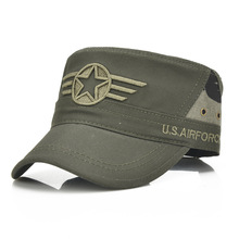 100% Cotton Army Baseball Cap Five-pointed Star Embroidered Flat top Hat for men and women