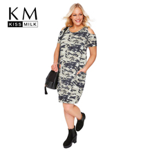 Kissmilk Plus Size Women Camo Print T-shirt Dress Casual Military Camouflage Tunic Cold Shoulder Dress Big Size Dress 3-6XL(China)