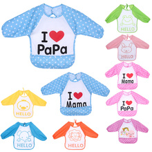 Baby Bibs TPU Waterproof Knitted Fabric Overclothes Baby Bibs Boys Girls Infants Burp Clothes Feeding Care
