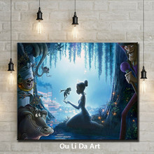 cartoon figures forest girl animal scenery oil painting  canvas printings printed on canvas kid room wall art decoration picture